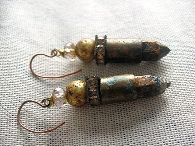 Graphite Deposit Discovered. Bullet Casing and  Pencil Stub Earrings.