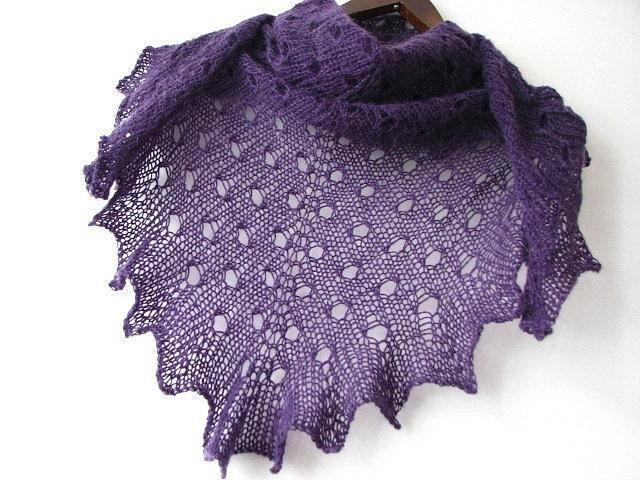 Purple PLUM - hand knitted shawl - sweetflowers