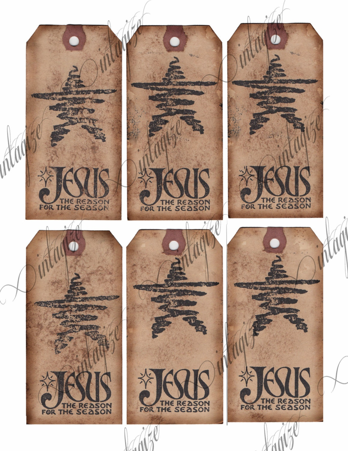Printable Rustic Primitive Christmas Gift Tags-Jesus is the Reason ...