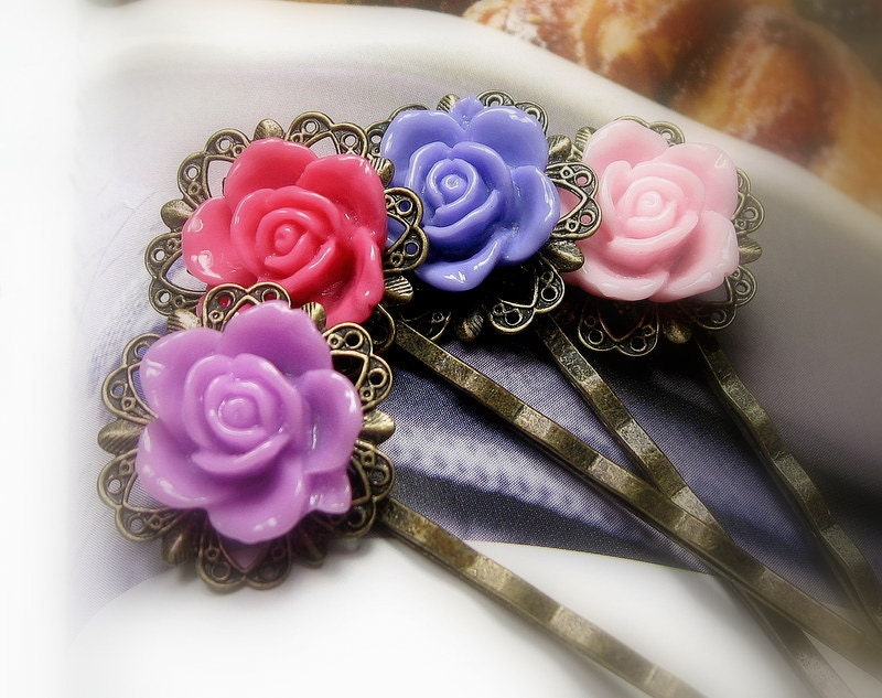 Flower Bobby Pins, Violet, Purple, Pink, Coral