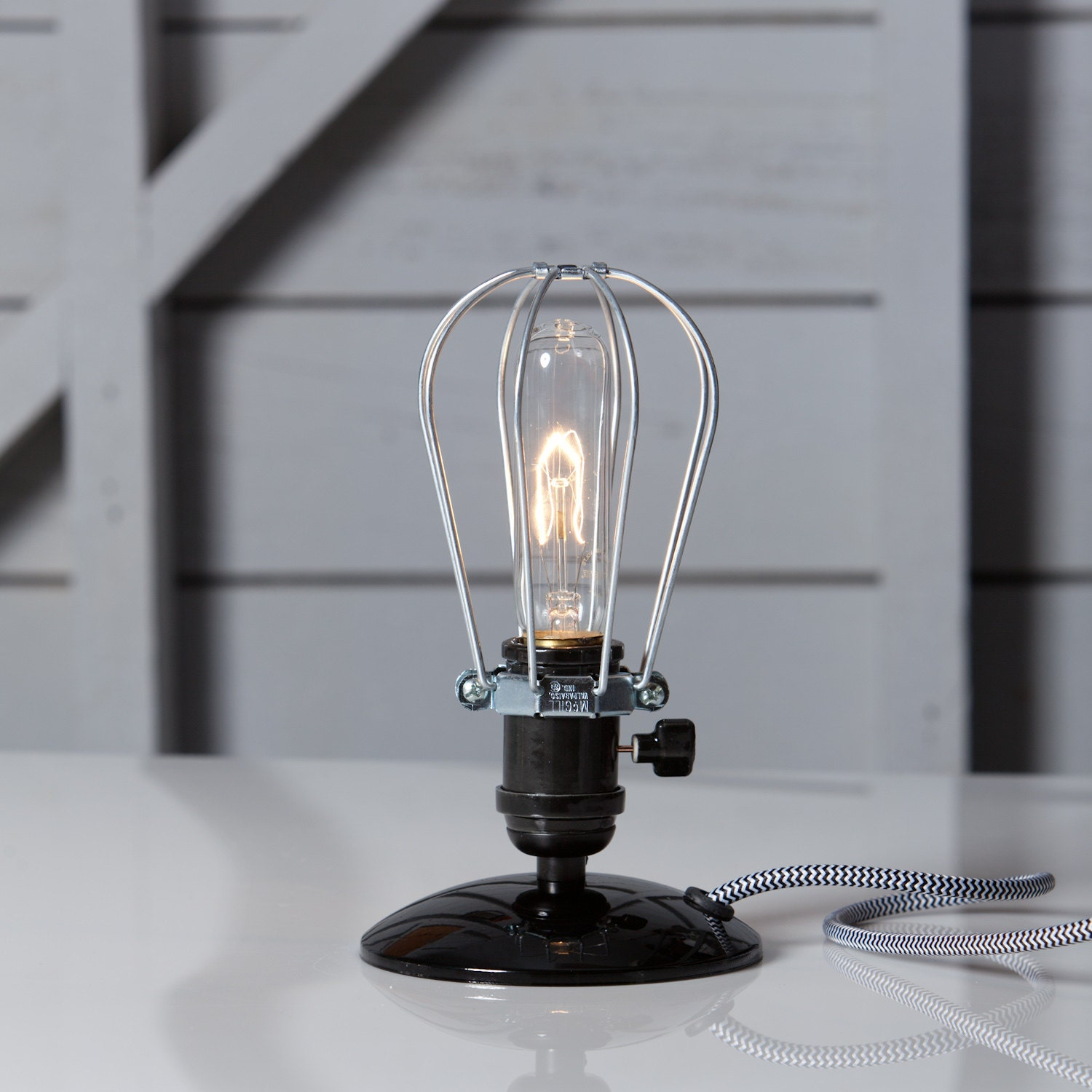 Industrial Desk Light Wire Cage Table Lamp Vintage By
