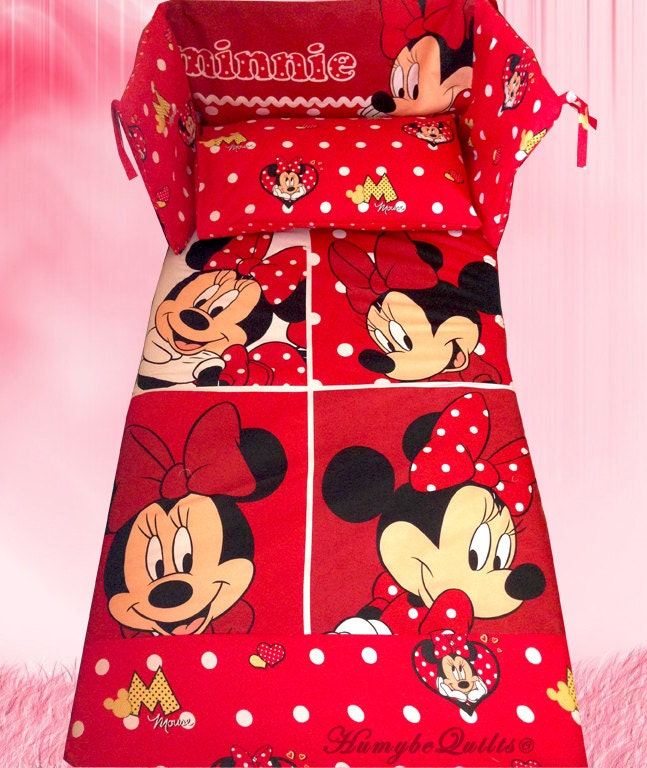 disney minnie mouse red boxes bedding set all by humybequilts