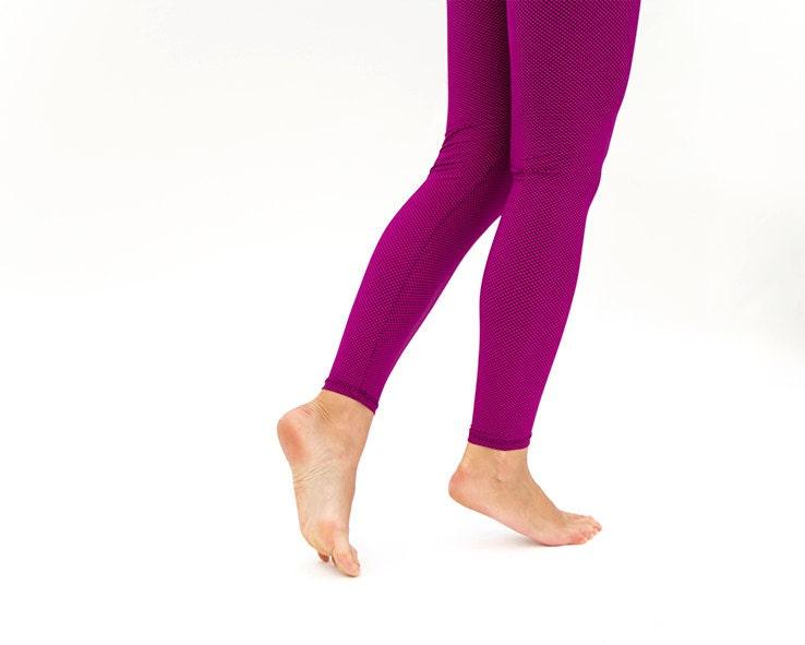 Purple & Small Black Plaid Leggings - MikiBeFashion