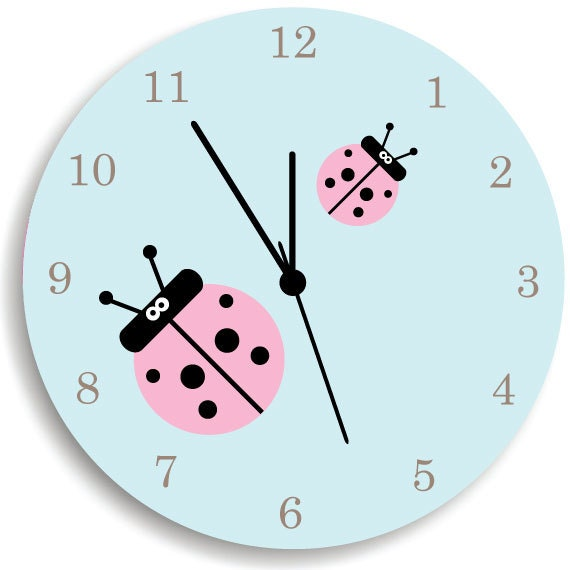 Comwall Clock For Kids Room : Girls Wall Clock, Children Room Decor Lady Bug Wooden WALL CLOCK for ...