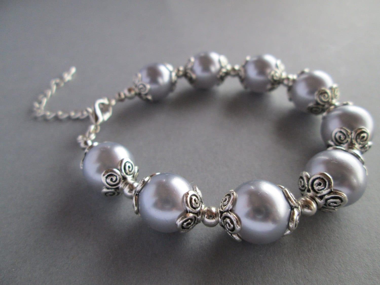 Handmade  Lilac and Silver Pearl Bracelet, Lavender Bracelet. Purple Bracelet - Michelleshandcrafted