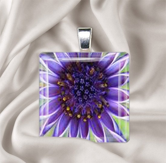 Purple Passion Flower Tile Pendant