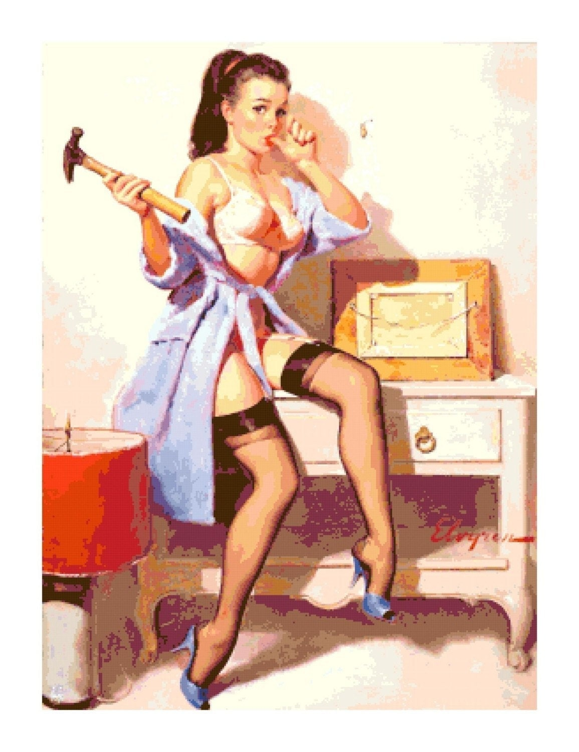Retro pin up with hammer and nails cross stitch pattern ebay for Classic 50s housewife