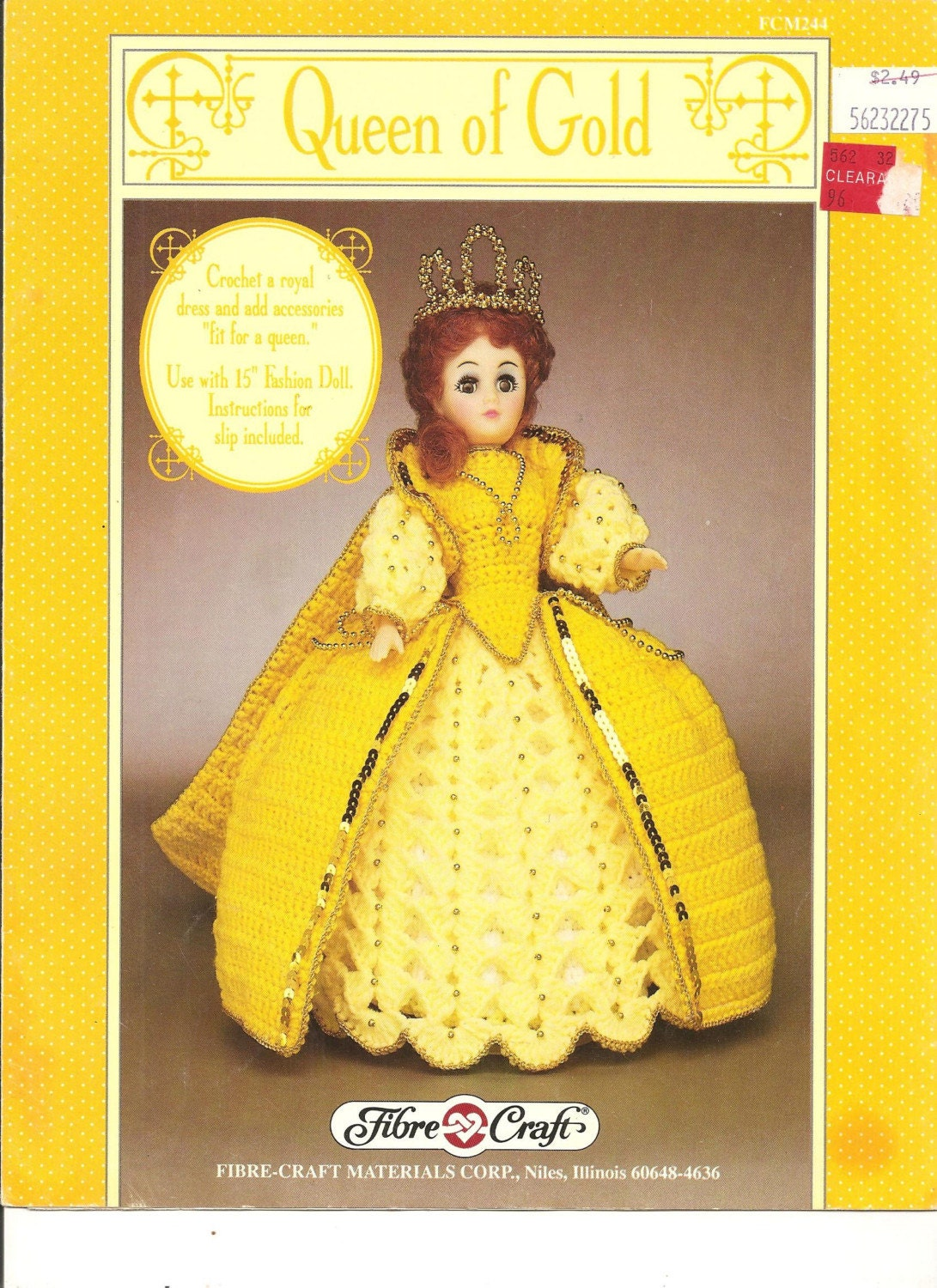 Queen of gold fibre craft crochet doll clothing by for Fibre craft 18 inch doll