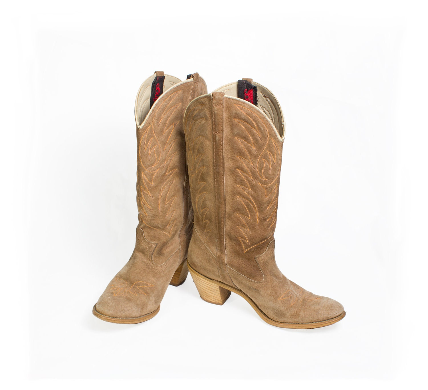 vtg 90 s light fawn brown suede cowboy boots womens by