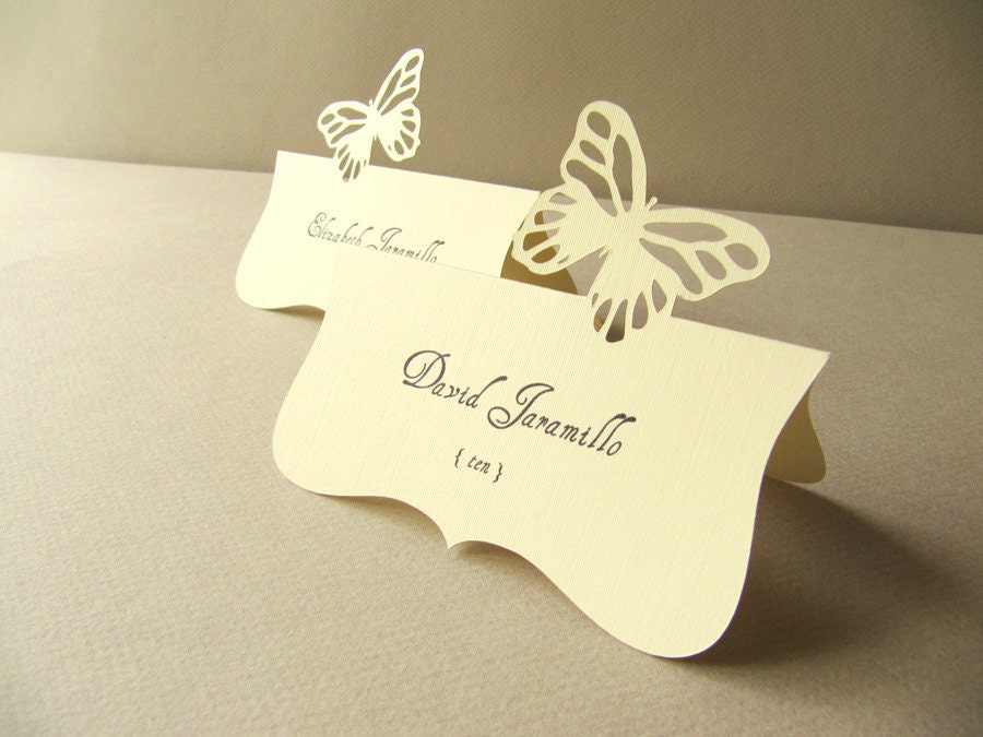 Butterfly Die Cut Seating Name Card/Place Card, Guest names printing included