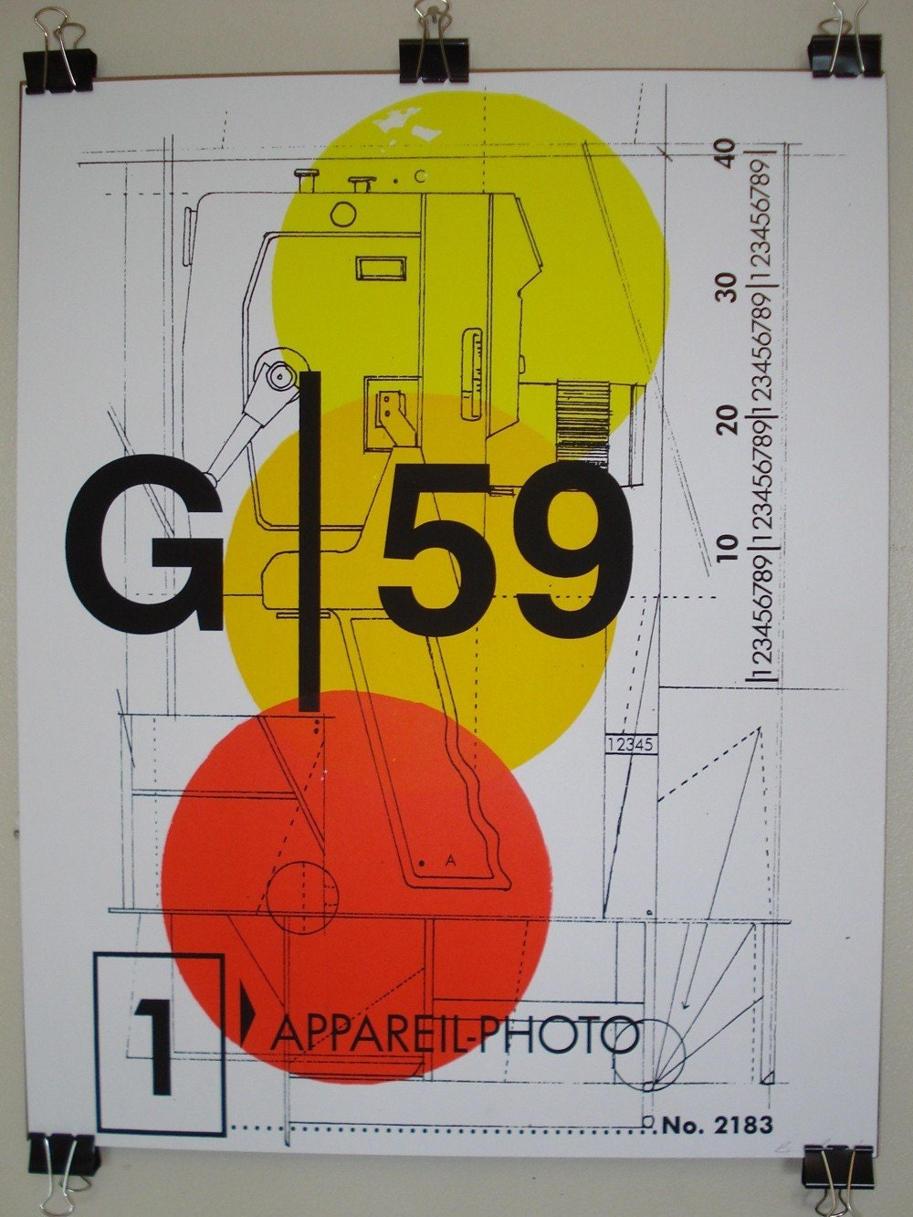 Vintage Bell and Howell Camera DIAGRAM Screen Print ART poster - 16 x 20 inches - 026