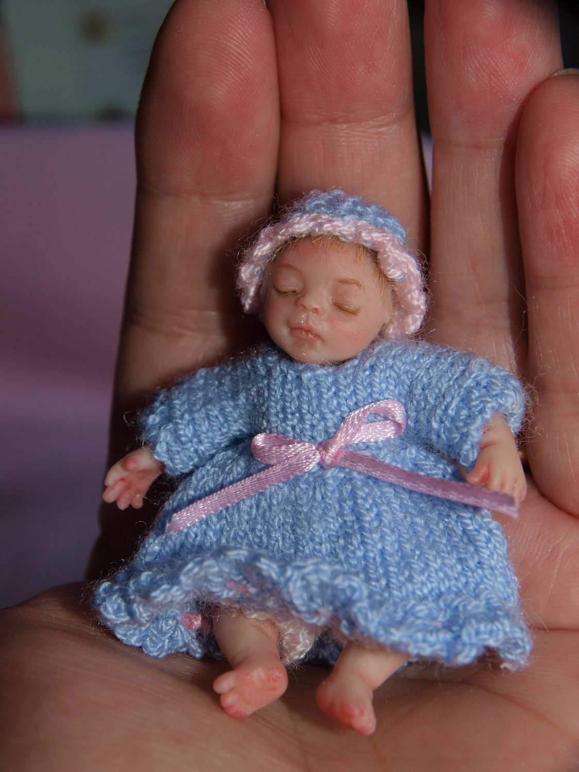 Ooak miniature polymer clay baby by linnrosa on etsy