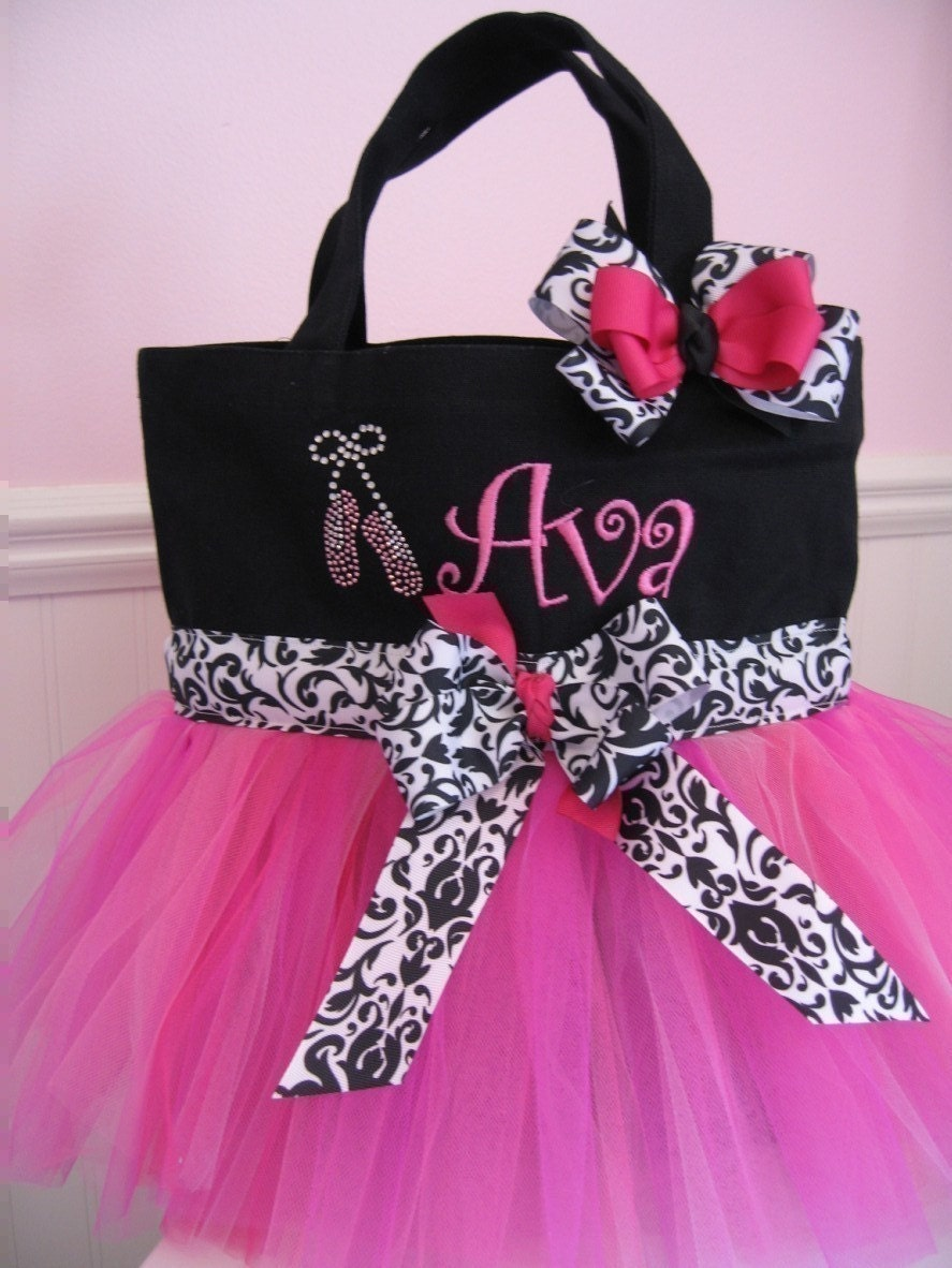 Tutu Tote Dance Bag - Black and Pink with Rhinestone ballet slippers and Embriodered Name