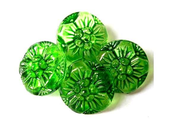 4 Antique vintage green flowers glass buttons new hand paint 18mm Czech - oritdotan