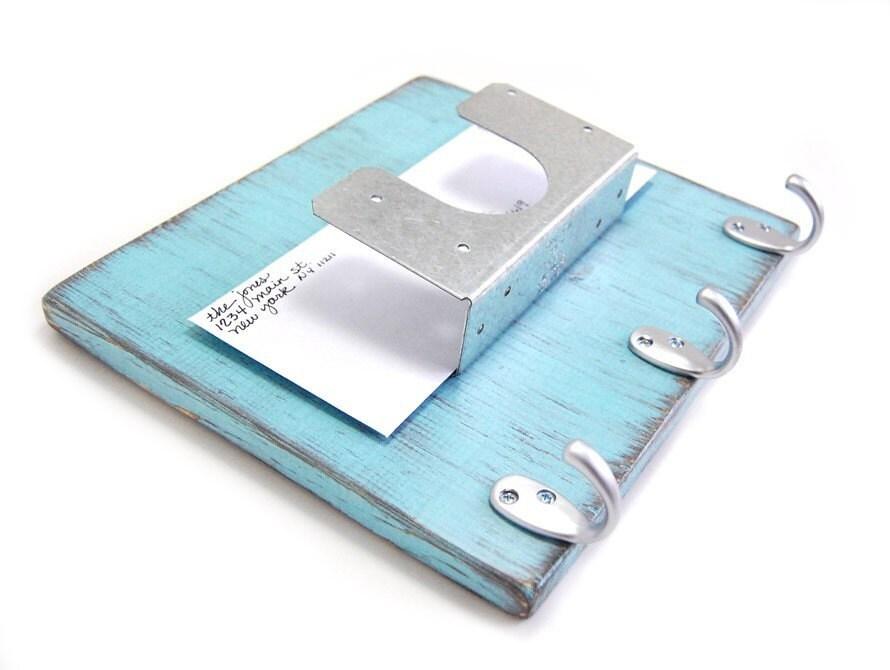 Wall Mail Key Organizer Wood Silver Hooks By Oldnewagain