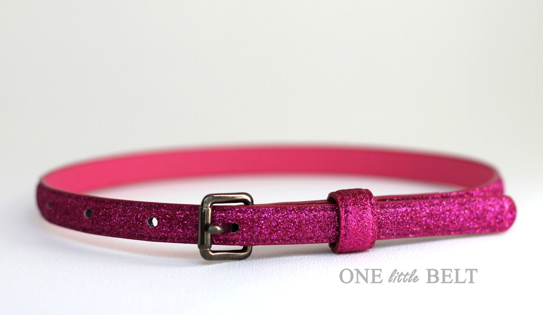 Baby Girl's Belt- Pink Glitter Skinny Belt 0-3 months