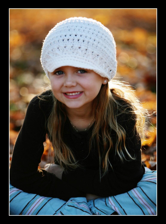 1-2T Newsgirl Beanie - white
