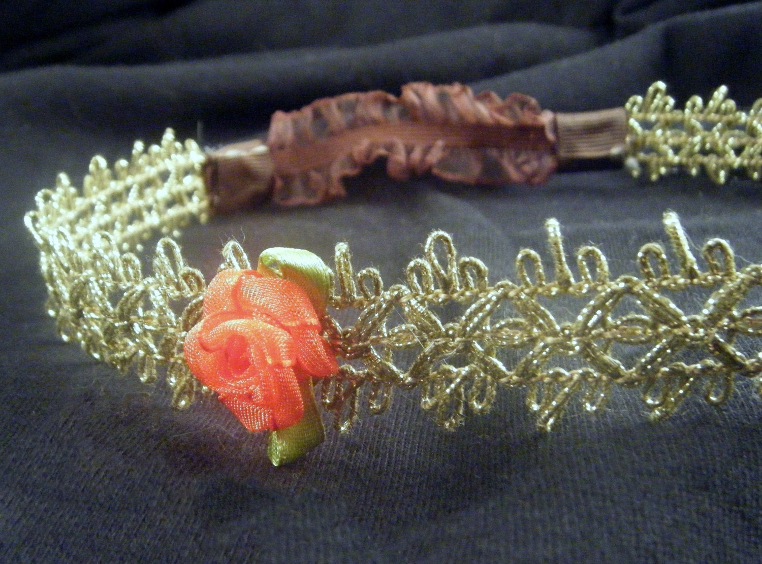 Elegant Gold Ribbon Headband With Sweet Red Rose