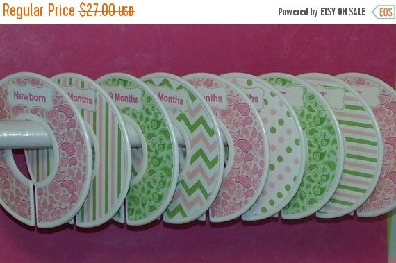 ON SALE 9 Custom Baby Closet Dividers Baby Pink Mossy Green Paisley with Dots Stripes Chevrons CD567 Baby Girl Shower Gift Nursery Bedding O