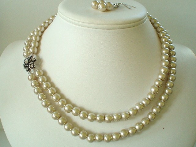 Custom Order For KELP320 Two Strand Champagne Pearl with Flower Rhinestone Pendant Beaded Necklace and Earring Set