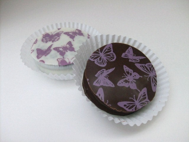 Designer Chocolate Covered Oreo Cookies -Purple Butterflies