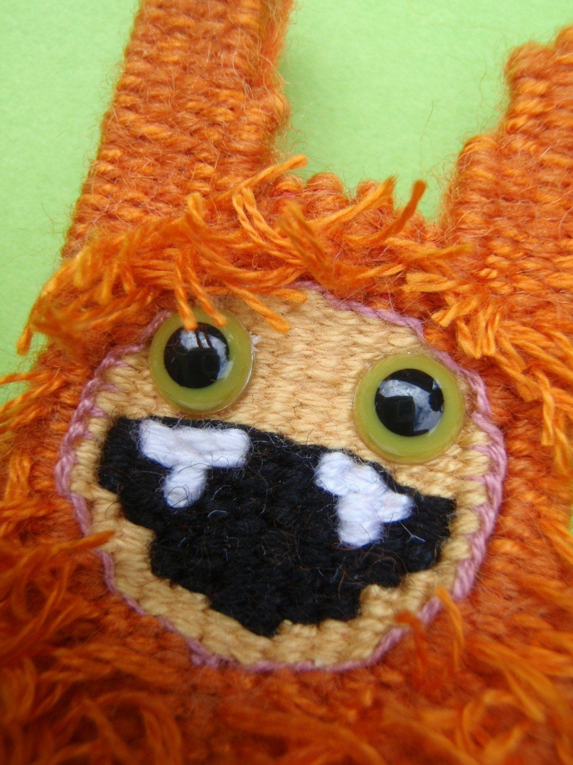 Orange Tapestry Monster Brooch- Hirsute Horatio