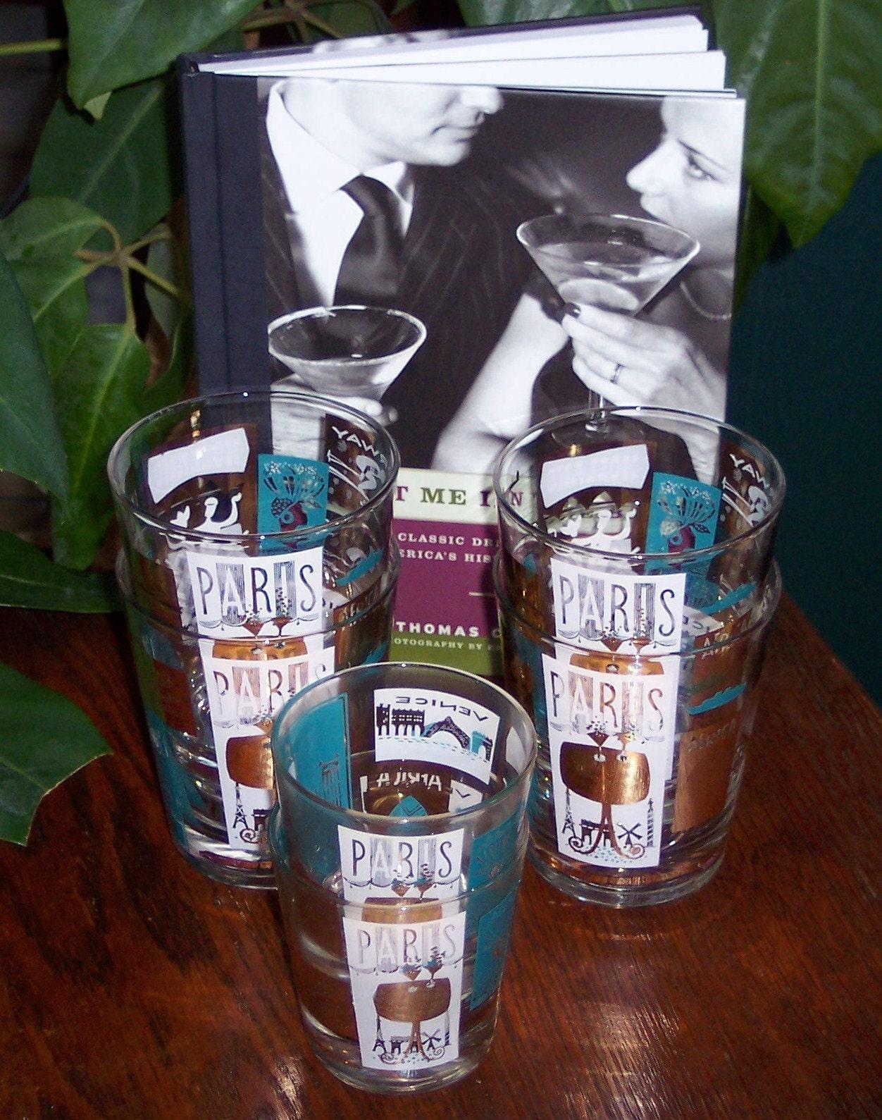 January Sale VINTAGE 1960s BAR GLASSES WITH JETSET TRAVEL MOTIF PARIS,VENICE,BRITAIN . . .