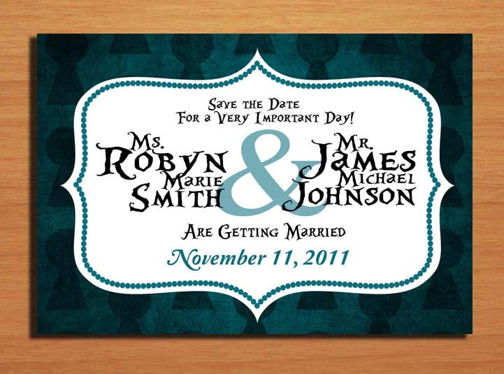 Alice in Wonderland Key Hole Modern Wedding Save the Date PRINTABLE DIY