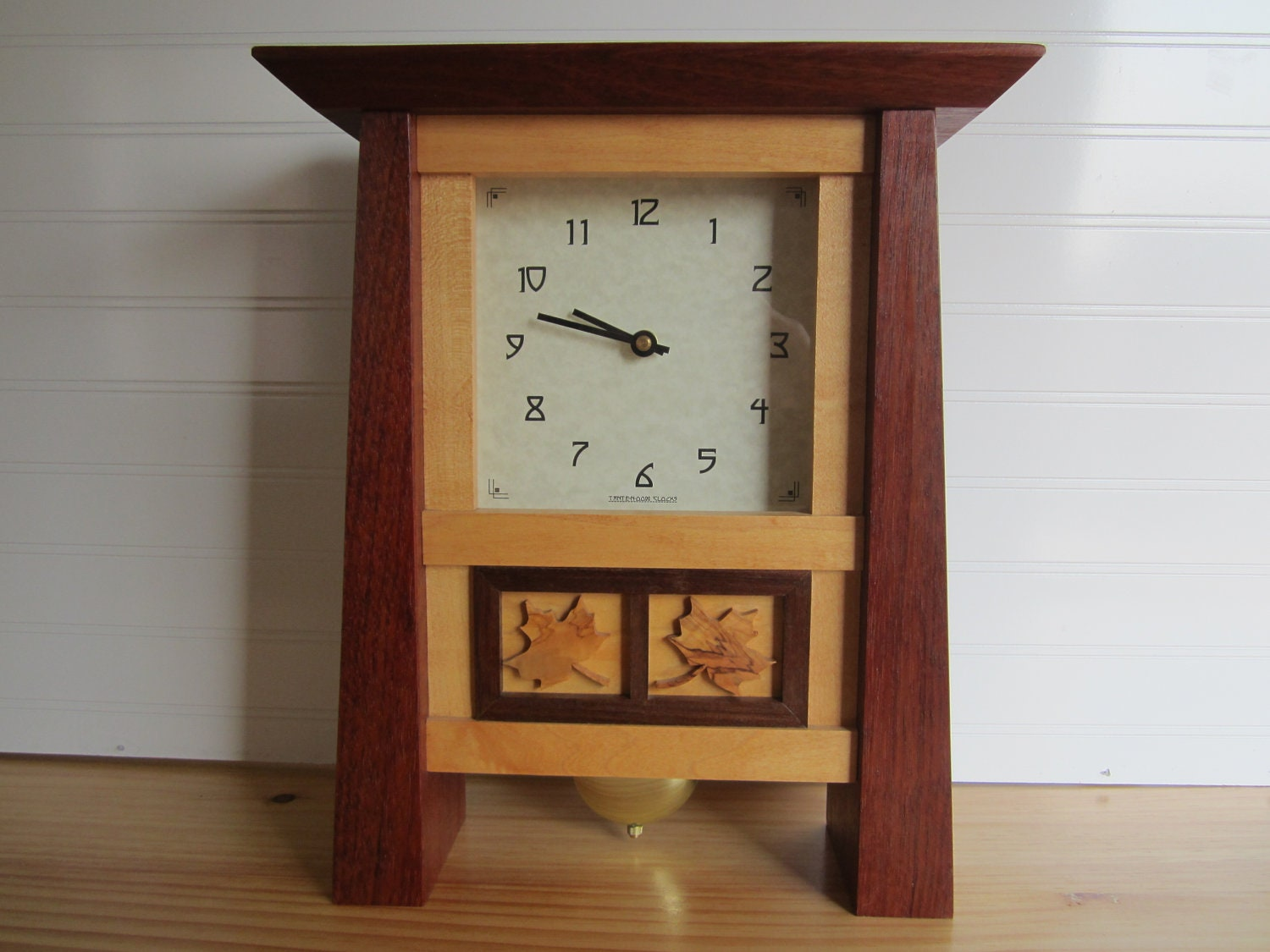 Mantle clock bungalow clock arts and crafts clock by for Arts and crafts mantle clock