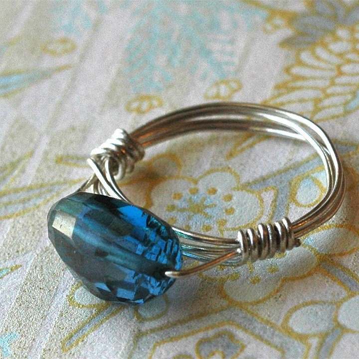 London Lite Ring - london blue topaz and sterling by bombalurina on Etsy from etsy.com