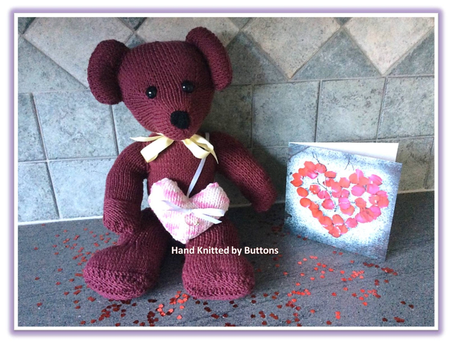 Knitted bear Plum Teddy Bear CE tested Teddy Valentine bearKnitted teddyTeddy Bear Heart ring cushion Engagement giftSweetheart gift