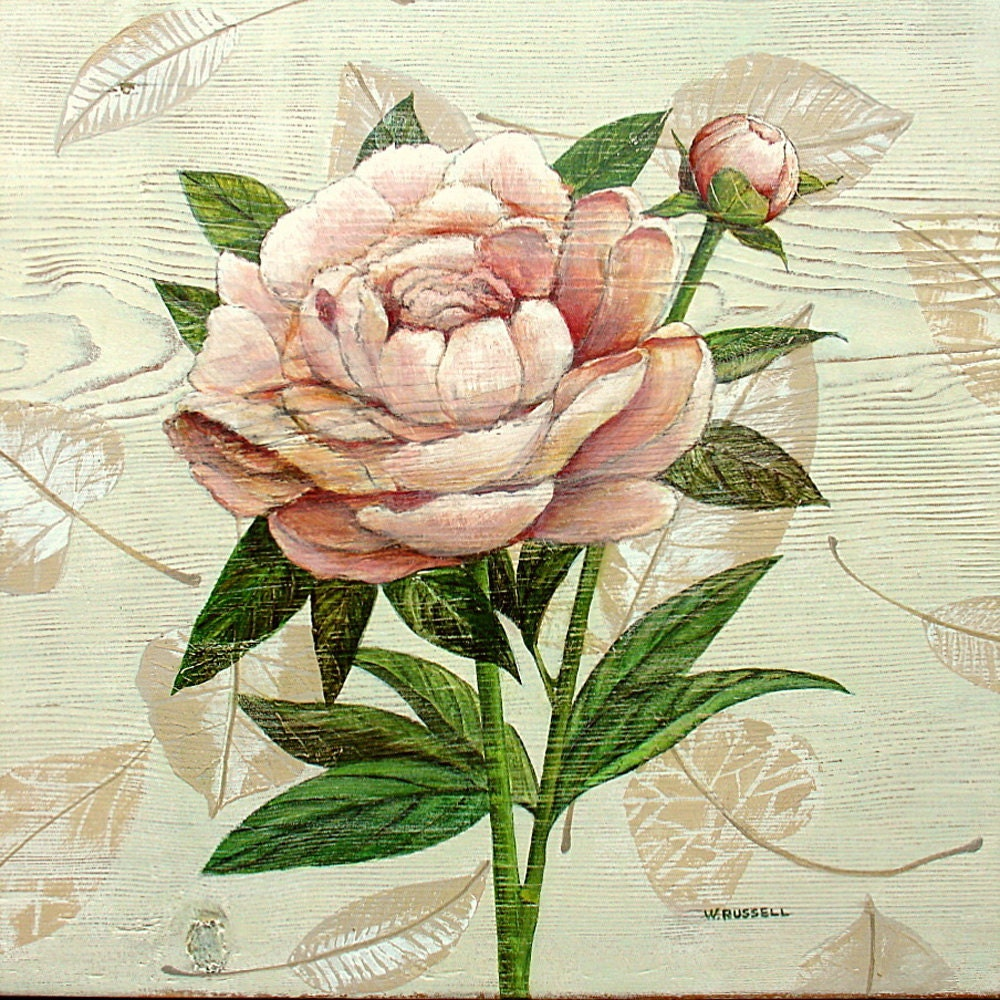 Folk Art Original Painting on Antique Board/Pink Peony