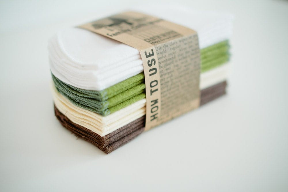 Eco-Friendly   Cloth Wipes Diaper Bag Wipes - Save a Tree - Gender Neutral - Solid Brown White Cream Green Double Layer
