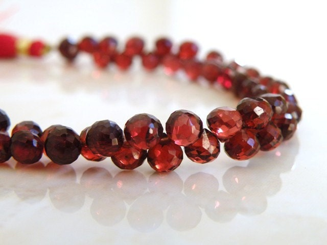 Mozambique Garnet Onion Briolette AAA Red Maroon Faceted Heart  5mm 1/3 Strand Wholesale