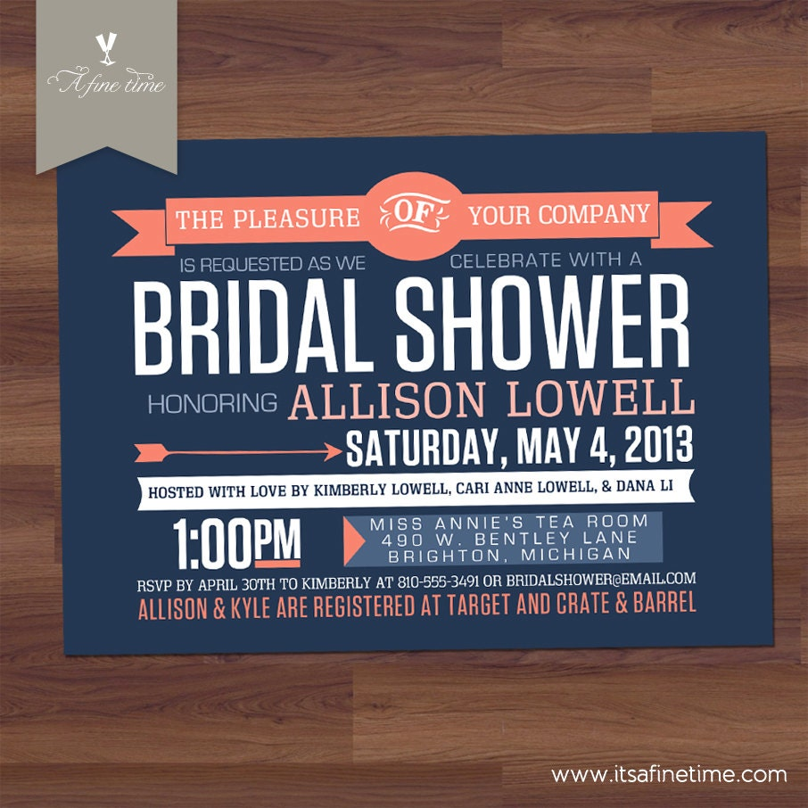 Unavailable listing on etsy for Modern bridal shower invitations
