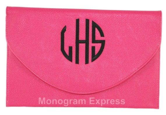 monogrammed hot pink envelope purse clutch by monogramexpress