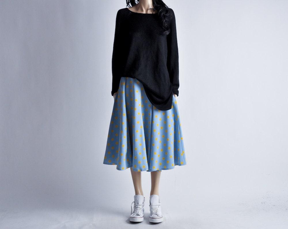 baby blue polka dot midi circle skirt by