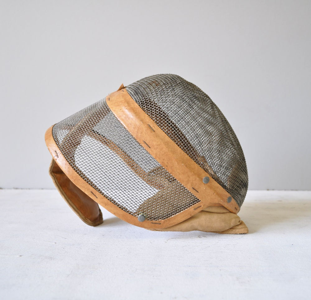 Vintage Leather Trimmed Fencing Mask by MariesVintage on Etsy from etsy.com