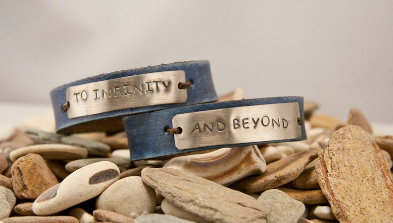 Leather cuff bracelet- to infinity and beyond - blue- his and hers  pair - 1/2  inch