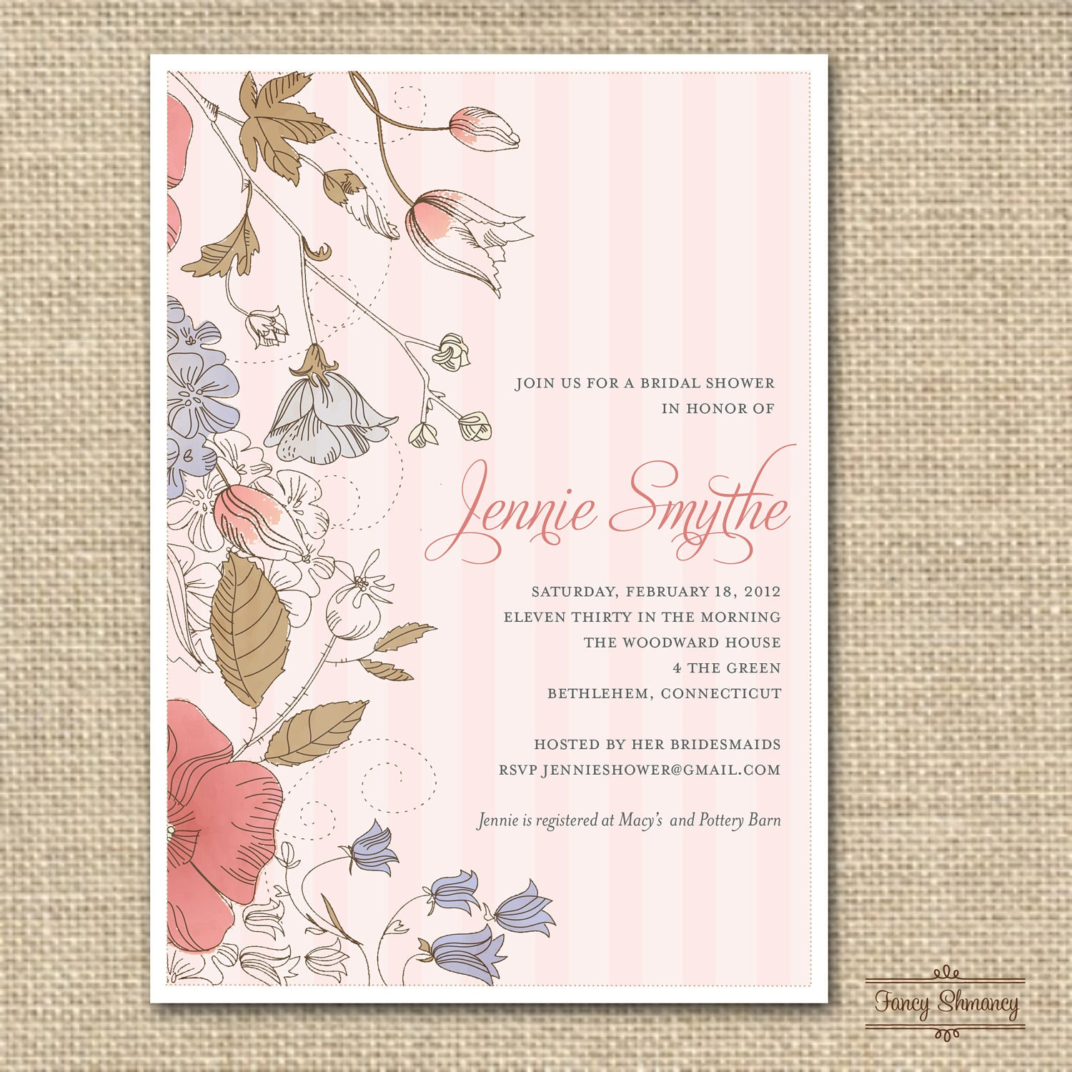 Unavailable listing on etsy for Classic bridal shower invitations