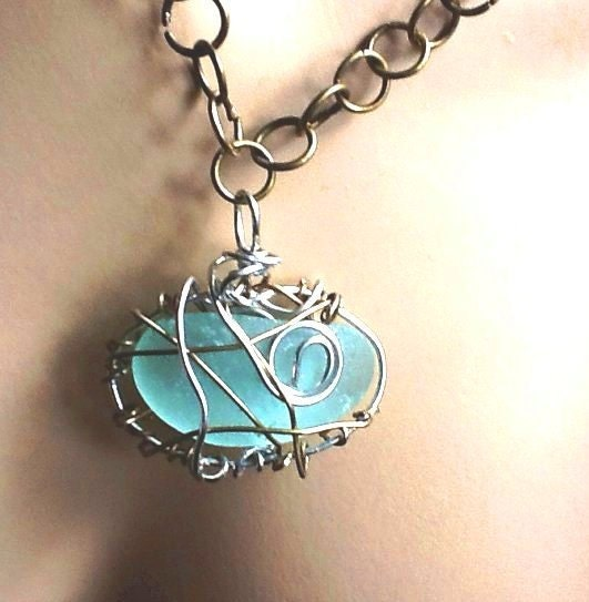 Dazzling jellybean seaglass, bronze and silver wire wrapped pendant/necklace - Thesnowrose