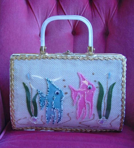 Vintage 60s Tropical Fish Basket Purse - daisyfairbanks