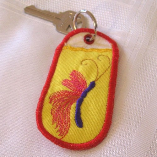 Embroidered Butterfly Keychain, Lip Balm or USB Drive Case, Key Ring, Key Fob, NO SHIPPING CHARGES