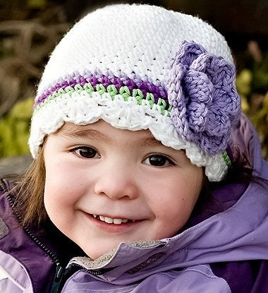 0-12M SJC Striped Flapper Beanie- white, grape, purple and apple green