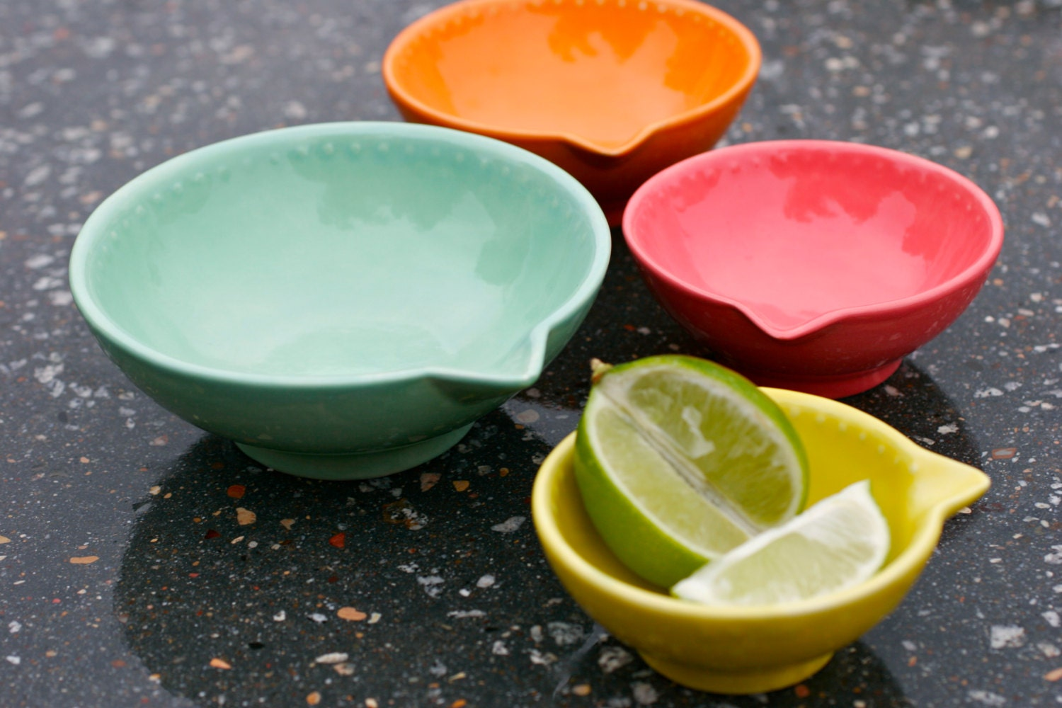 Neon Citrus Measuring Cup Set of Four - Kitchen Gift Nesting - Mint Green, Orange, Pink, and Yellow - Hand Painted Prep Bowls- Made To Order - GrayDecember
