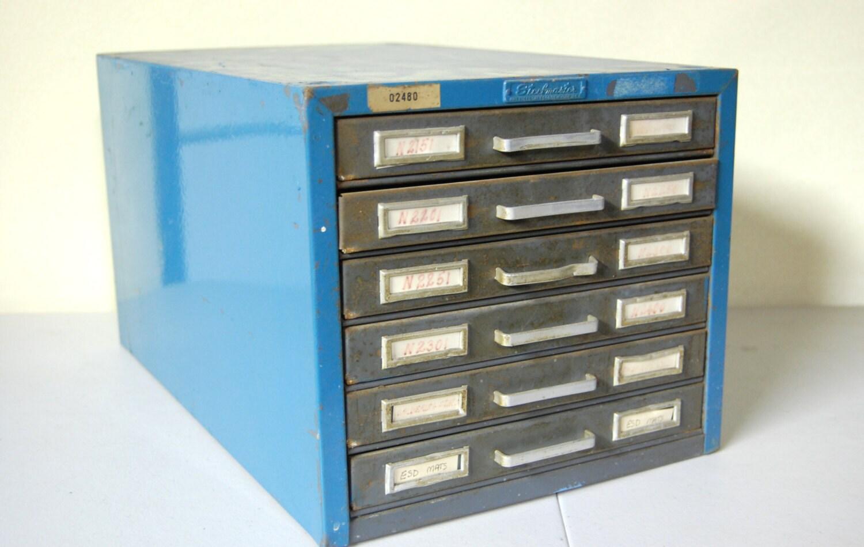 Vintage Steelmaster 6 Drawer Flat File Metal Cabinet By