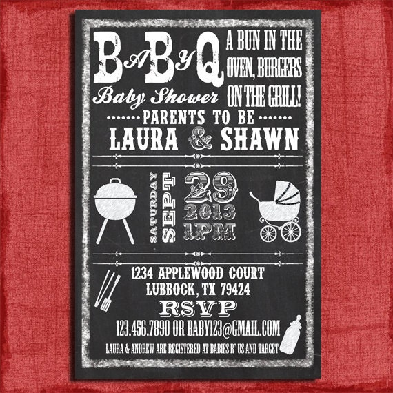 printable baby q bbq baby shower chalkboard style by puzzleprints