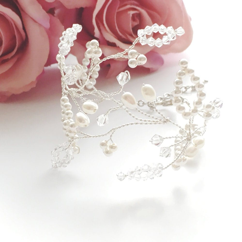 Bridal Bracelet Wedding Bracelet Wedding Bridal Jewelry Crystal Bracelet Pearl Bracelet Swarovski Bracelet Florrie Bridal Bracelet