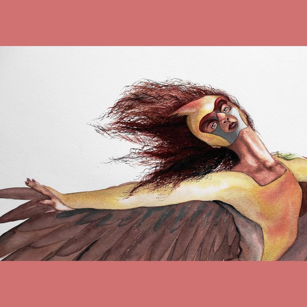 Original Watercolor Painting Bird Dancers Cardinals