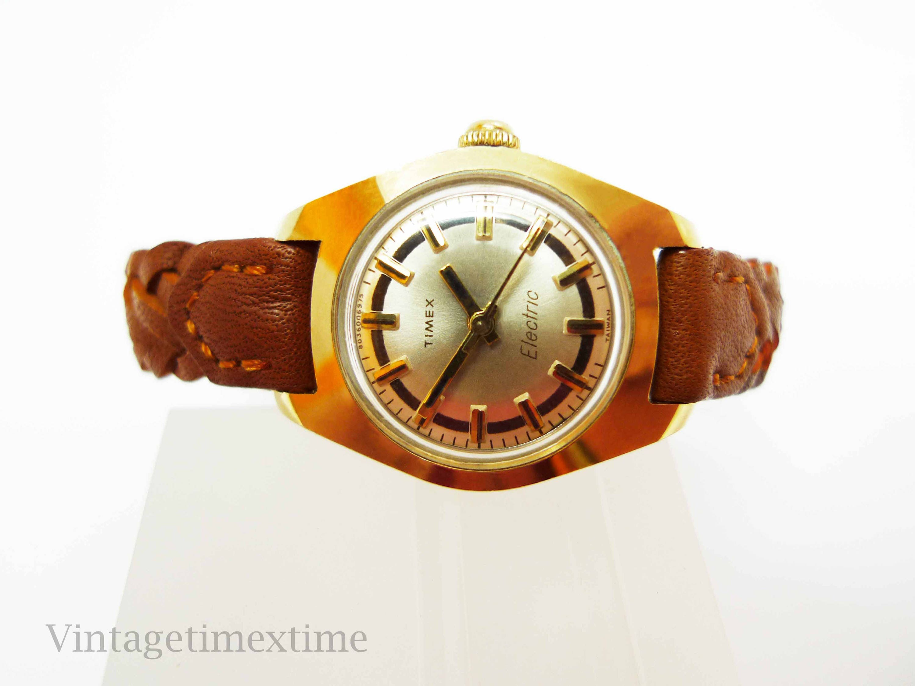 Timex Electric Ladies Watch 1975 with Gold Dial Electronic Movement